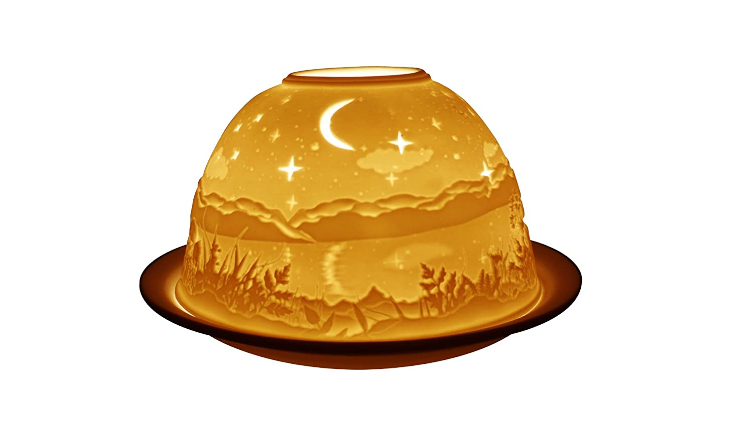Light-Glow Starry Night Lithophane Dome Tealight Candle Holder