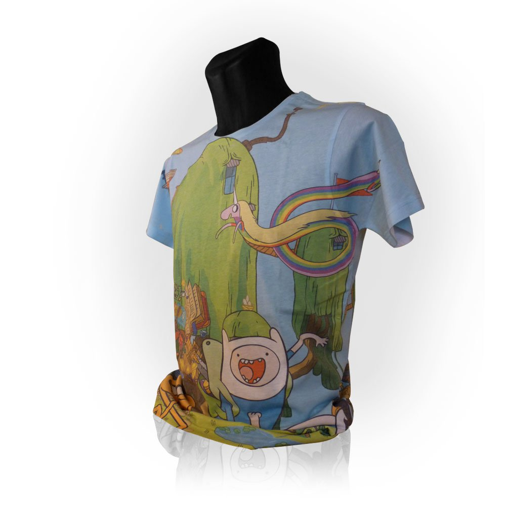Adventure Time Finn and Jake's Treehouse Sublimation Print T-Shirt (Medium)