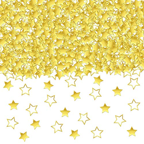 GOLD STAR CONFETTI TABLE DECORATIONS - 1.7 Oz Golden Star Metallic Foil Sequin Confetti for Party | Wedding Decorations | Twinkle Twinkle Little Star Decorations | Birthday Party | Arts and Crafting ()