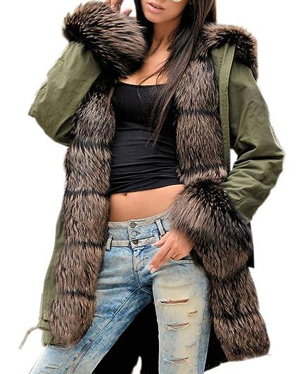 new concept 564ab 93bcb Aofur Damen Mantel Dick Faux Pelz Winter Kapuzenmantel Lange Wintermantel  Jacke Parka Mode Pelz gefüttert Warm Outwear