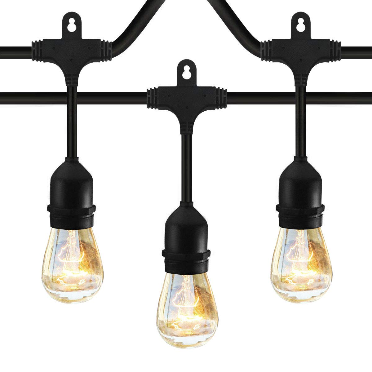 Classyke 48ft Indoor Outdoor String Lights for Patio Garden Yard Deck Cafe Dimmable Weatherproof Commercial Grade [UL Listed] - Incandescent