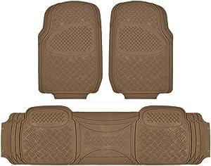 BDK MaxDuty Rubber Floor Mat for Car, SUV,Van & Truck - Super Heavy Duty Rubber , Trim to Fit & 3 Piece (Tan)