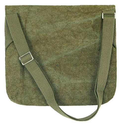 Shoulder Mickey Canvas Small Handbag Ililily Disney Olive Cotton Bag Messenger Green Mouse qxx4fX