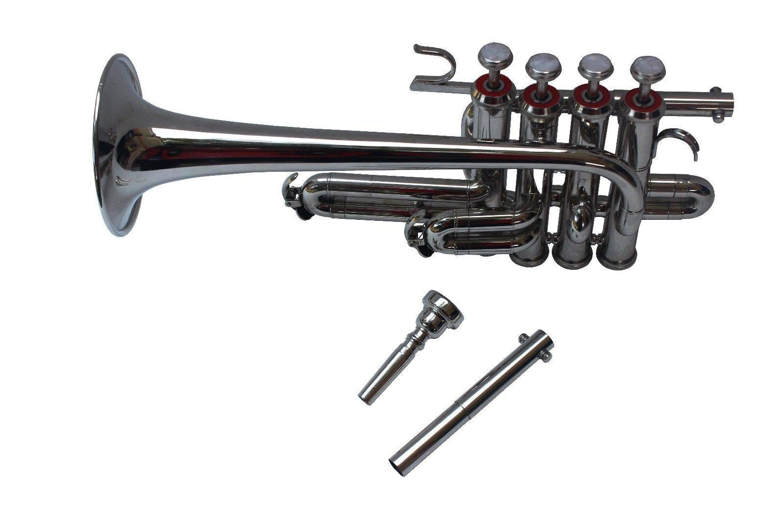 SCEXPORTS Picollo Trumpet Bb Pitch With Free Hard Case And Mouthpiece, Nickel Silver PRO120