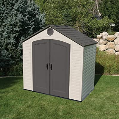 Limetime plastic shed in a nice garden