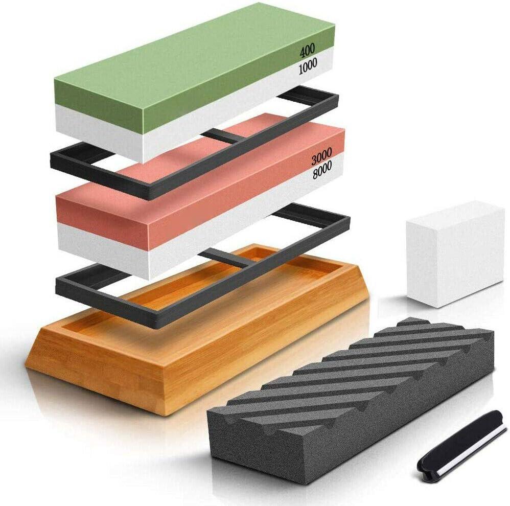GJCrafts Set di pietre per affilare i coltelli Whetstone 400 // 1000,3000 // 8000 Kit per affilare i coltelli con base in bamb/ù antiscivolo supporto in silicone pietra per lappatura guida angolare