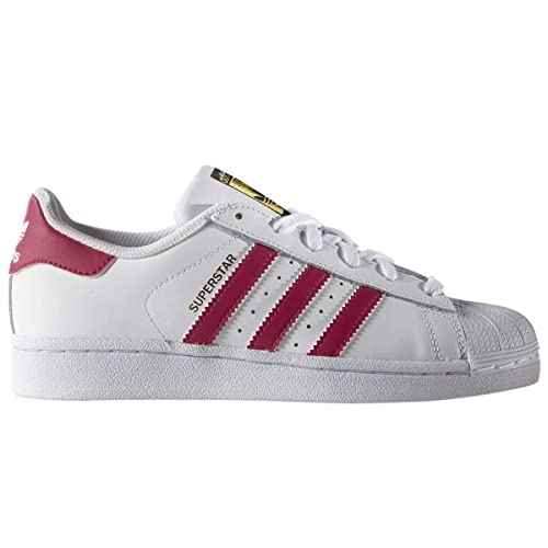 adidas SUPERSTAR FOUNDATION J Casual Basketball-Inspired Low-Cut Sneaker, White/Pink