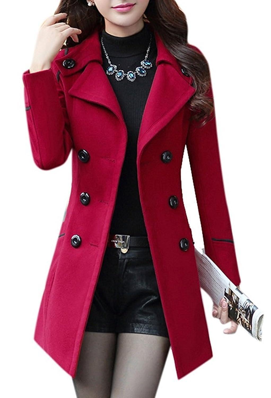 MaliDak Women's Fashion Winter Dress-Coats Slim Long Woolen Pea Coat