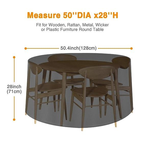 Tvird Funda para Muebles Impermeable,420D Tela Oxford Cubierta Mesa de Jardín Round,128 * 71CM Funda Grande para Exteriores Funda Muebles Protectora ...