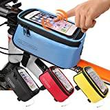 JOY COLORFUL Bicycle Bags Front Tube Frame Cycling Packages Touch Screen Mobile Phone Bags Professional Accessories, Blue, Large