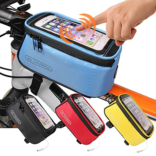 JOY COLORFUL Bicycle Bags Front Tube Frame Cycling Packages Touch Screen Mobile Phone Bags Professional Accessories, Blue, Large ()
