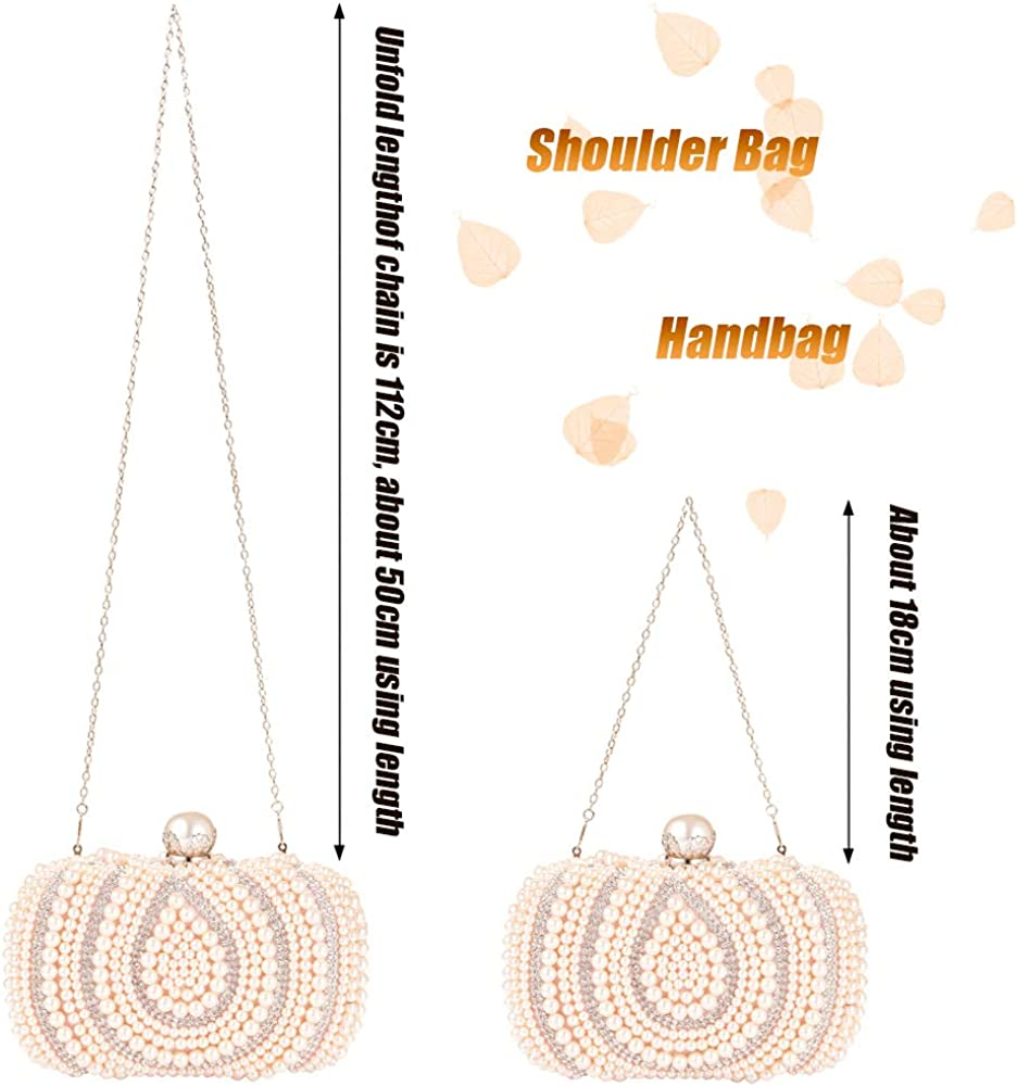Womens Clutch Luxury Evening Bags Full Beaded Artificial Pearls Handbag for Wedding Parites Prom