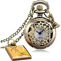 Reloj de bolsillo pequeño de Alicia en el País de las Maravillas con collar de cuarzo y etiqueta para colgar, regalo…