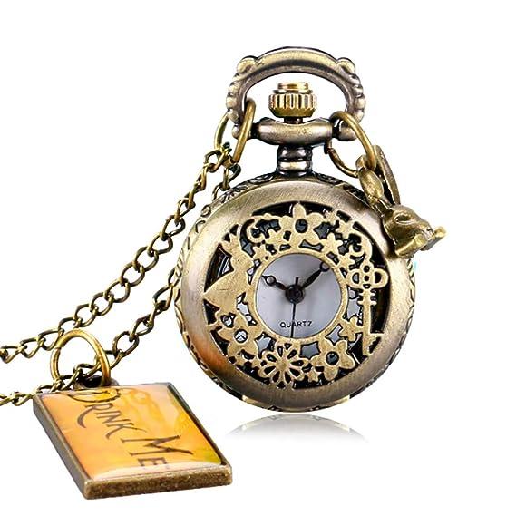 Reloj de Bolsillo pequeño de Alicia en el País de Las Maravillas con Collar de Cuarzo y Etiqueta para Colgar, Regalo para Hombres: Amazon.es: Relojes