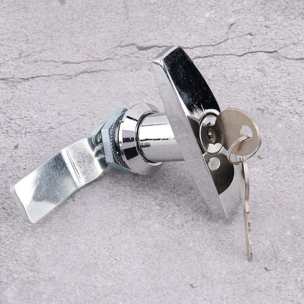 Qii lu T Handle Lock Bright chrome Rear Fixing T Handle Lock Tool Box Garage Door Lock with Keys for Trailer Caravan Canopy