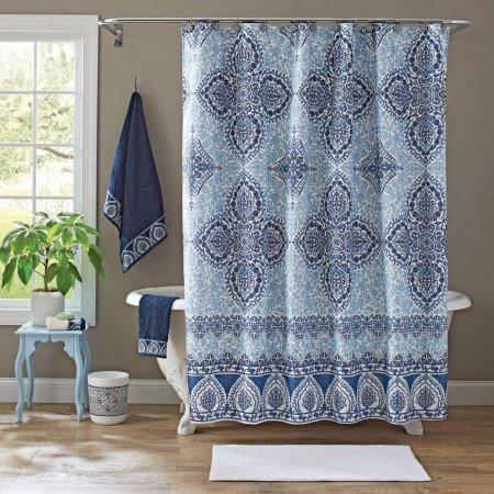 Better Homes and Gardens Indigo Arabesque Shower Curtain from Better Homes and Gardens