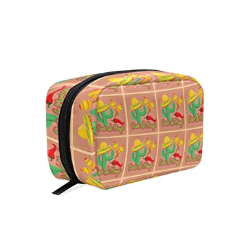 35e7db3a99bd Amazon.com : Women's Travel Cosmetic Bags Cactus In Sombrero Hat ...