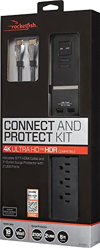 Rocketfish Connect Protect Surge Protector 4K UHD 7-Outlet 2-USB RF-HTB517