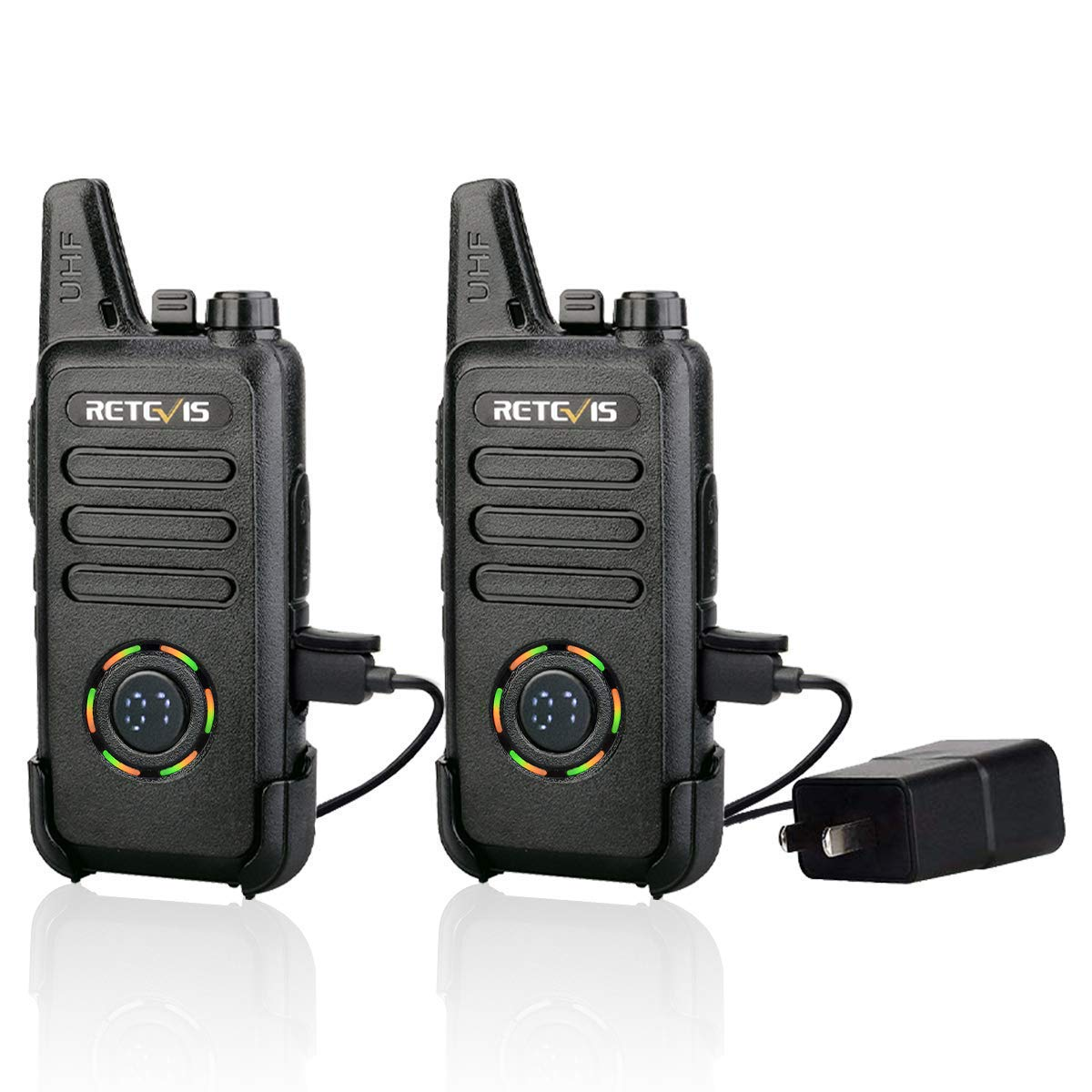 Retevis RT22S Walkie Talkies Rechargeable FRS VOX 22 Ch Alarm Lock Channel Signal Display Security Two Way Radio for Adults 2 Pack