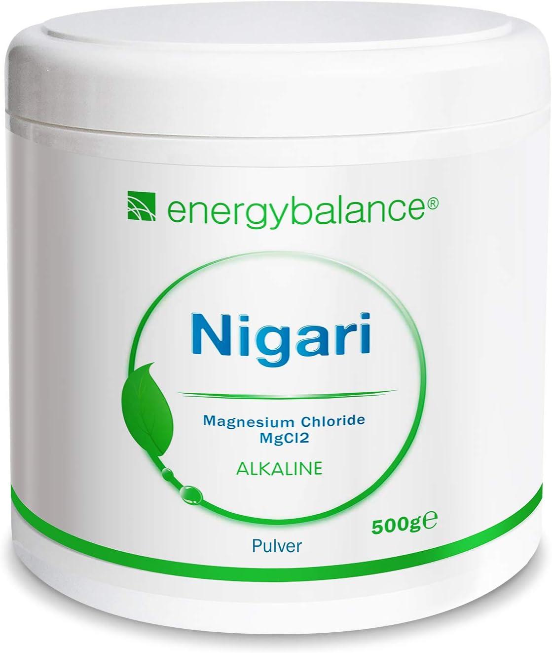 EnergyBalance Magnesio Cloruro de Magnesio-Nigari en Polvo 500g | Cloruro de Magnesio de salmuera cruda | Apto para diabéticos y veganos | Sin gluten ...