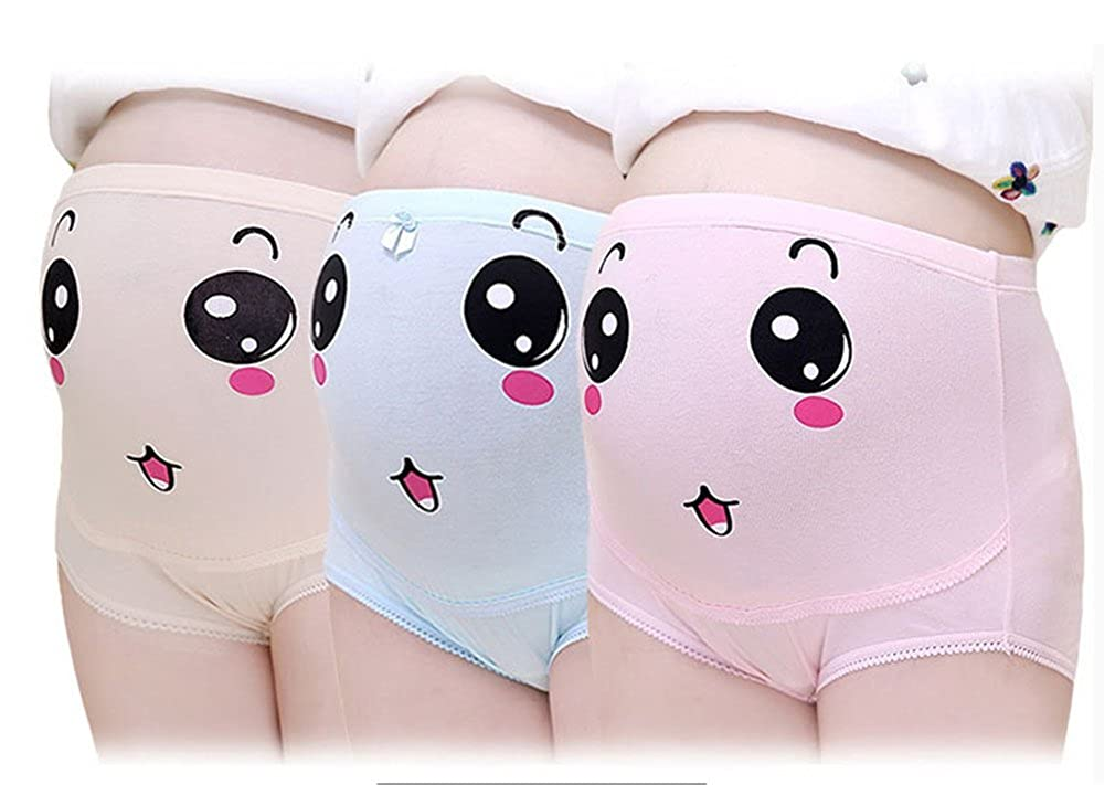 Adjustable Maternity Pregnant Mother's Panties with Printing Smile(3 Pack)