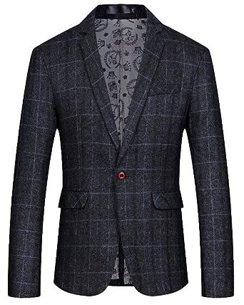 71f99be013d2 WSPLYSPJY Mens Basic One-Button Suit Formal Plaid Print Slim Check Print  Blazer Jacket Coat
