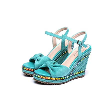 2069caeb449528 Fashion ladies shoes wedges sandals thick sandals black woven shoes ( Color    Blue