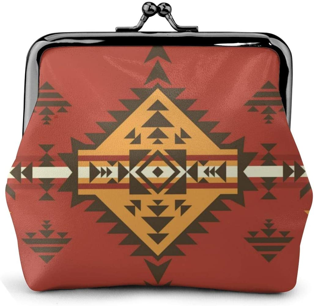 QAISONG Ethnic Aztec Native American Microfiber Women and Girl Leather Wallet Card Holder Bag Cash Coin Purse Handbag Button Mini Wallet