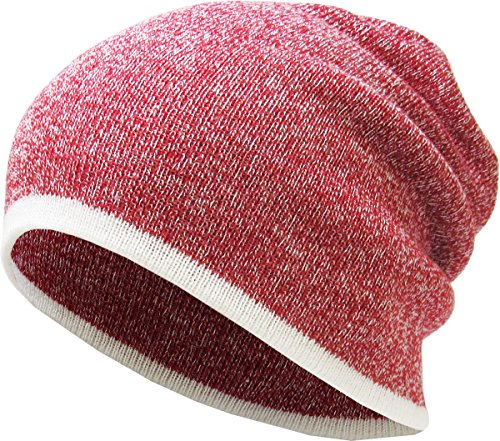 KBETHOS Winter Warm Heather Slouch Beanie Skull Hat Cap Outdoor for Men and Women (One Size, Heather Red)