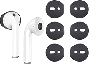 {Fit in Case}Silicone Protecitve Tips Ear Skins and Covers Replacement Anti Slip Soft eartips Compatible with Apple AirPods 1 & 2 or EarPods Headphones/Earphones/Earbuds (3 Pairs Black)