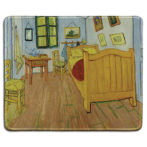 dealzEpic - Art Mousepad - Natural Rubber Mouse Pad with Famous Fine Art Painting of The Bedroom by Vincent Van Gogh - Stitched Edges - 9.5x7.9 inches