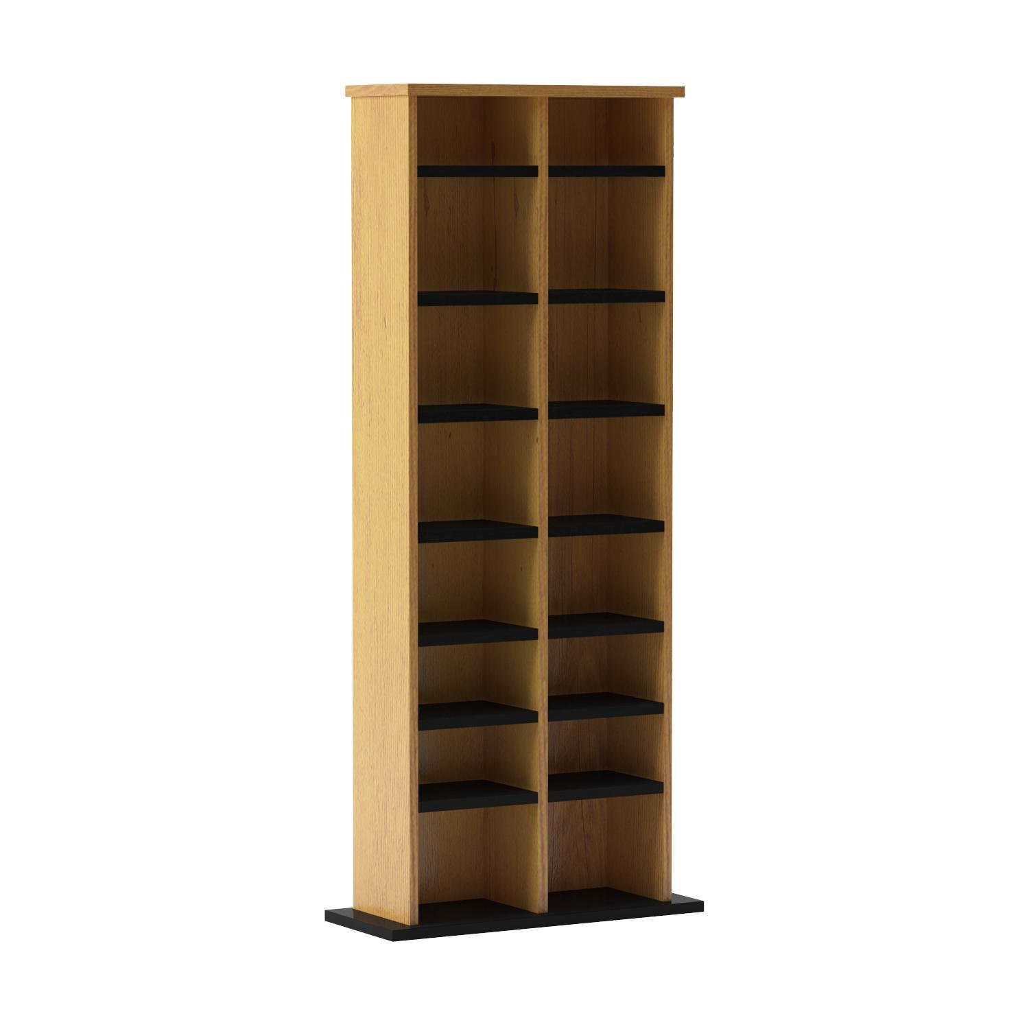Prepac Double Multimedia Tower Storage Cabinet, Oak and Black