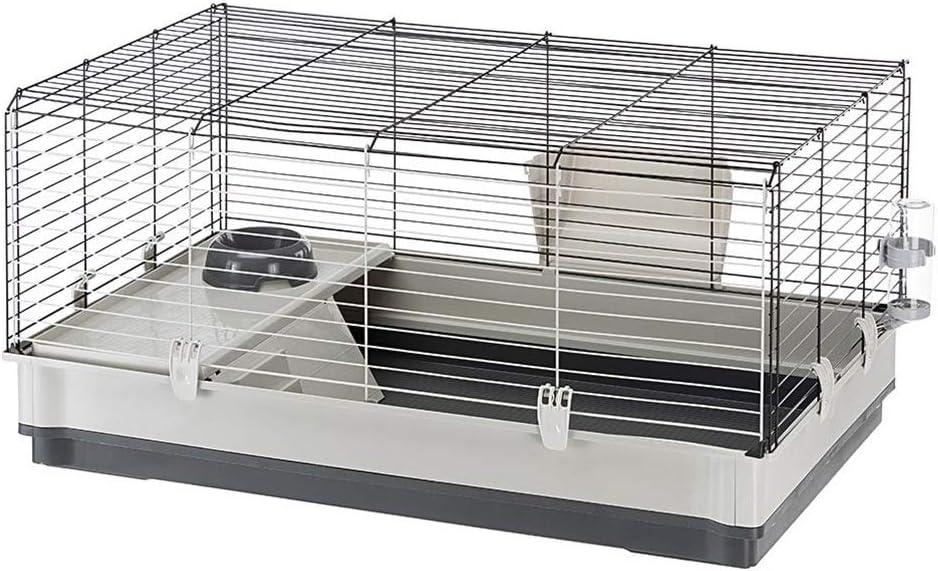 Feplast 57070517 Jaula para Conejos y Conejillos de Indias Krolik Large, Sistema de Desmontaje, Accesorios Incluidos 100 x 60 x 50 Cm, Gris