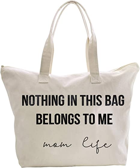 ElegantPark Mom Life Tote Bag Mothers Day Baby Shower Gifts for New Mom Christmas Birthday Gifts for Mom Canvas Mom Tote Bag with Zipper and Pocket
