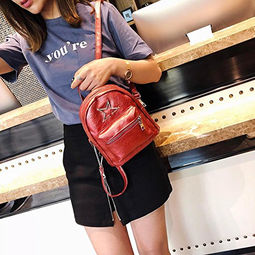 Travel Girl Casual Red Leather Star Shoulder Everpert Small Cute Mini Women Handbags Backpacks Daypack xwAqfv4