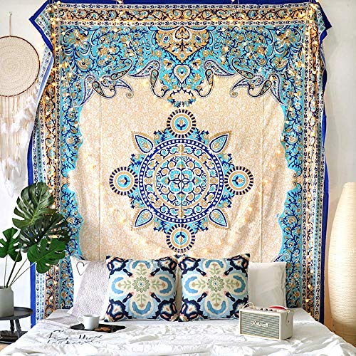 FLBER OUTLET Medallion Tapestry Gold Headboard Wall Hanging Home Decor,60