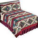 Collections Etc Aztec Fleece Southwest Design Theme Lightweight Bedding Coverlet, Brown Multi, Full/Queen