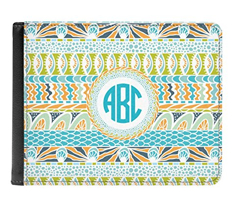 fold Wallet Teal Genuine Bi Abstract Personalized Stripes Men's Leather 4YTwF10q
