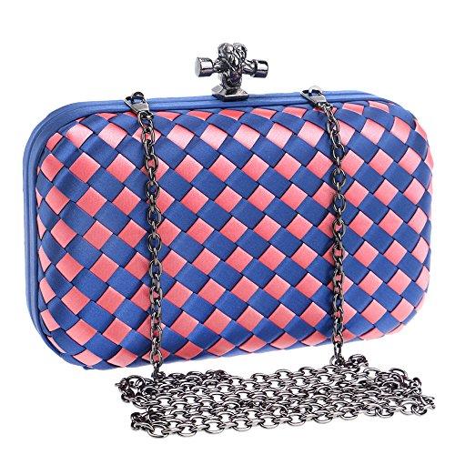 DarkGreen Clutch Weave Design Purse Wedding Cocktail Bag Rhinestone Formal Evening Clutch Handbag Simplicity Peach Plaid Evening Women's xB1wqZO1