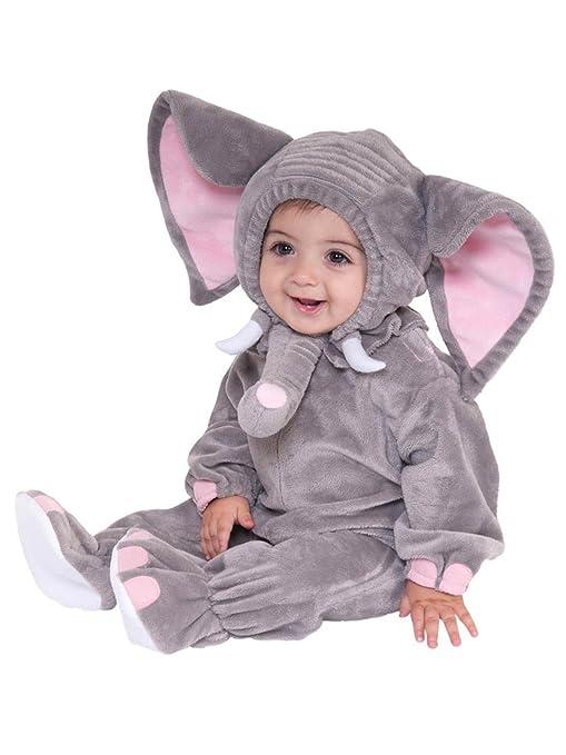 Gris Elefante Animales Bebé Disfraz 3 – 24 M manga larga de franela One piece bebé