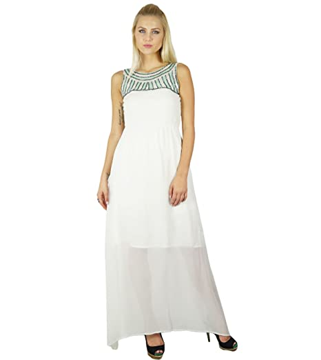 408a21c1c0fa Image Unavailable. Image not available for. Color: Bimba Women White Long Maxi  Dress ...