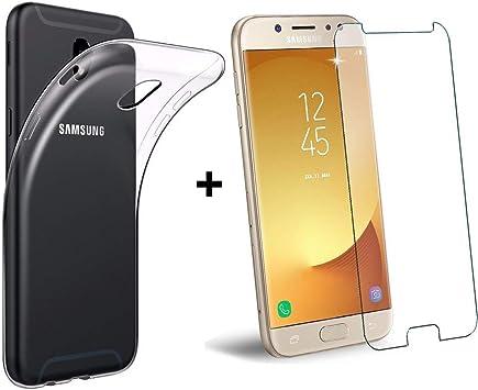 PLANETMOVIL® Compatible con Samsung Galaxy J3 2017 j330 Pack DE PROTECCIÓN Funda Transparente + Cristal de Vidrio Templado: Amazon.es: Electrónica
