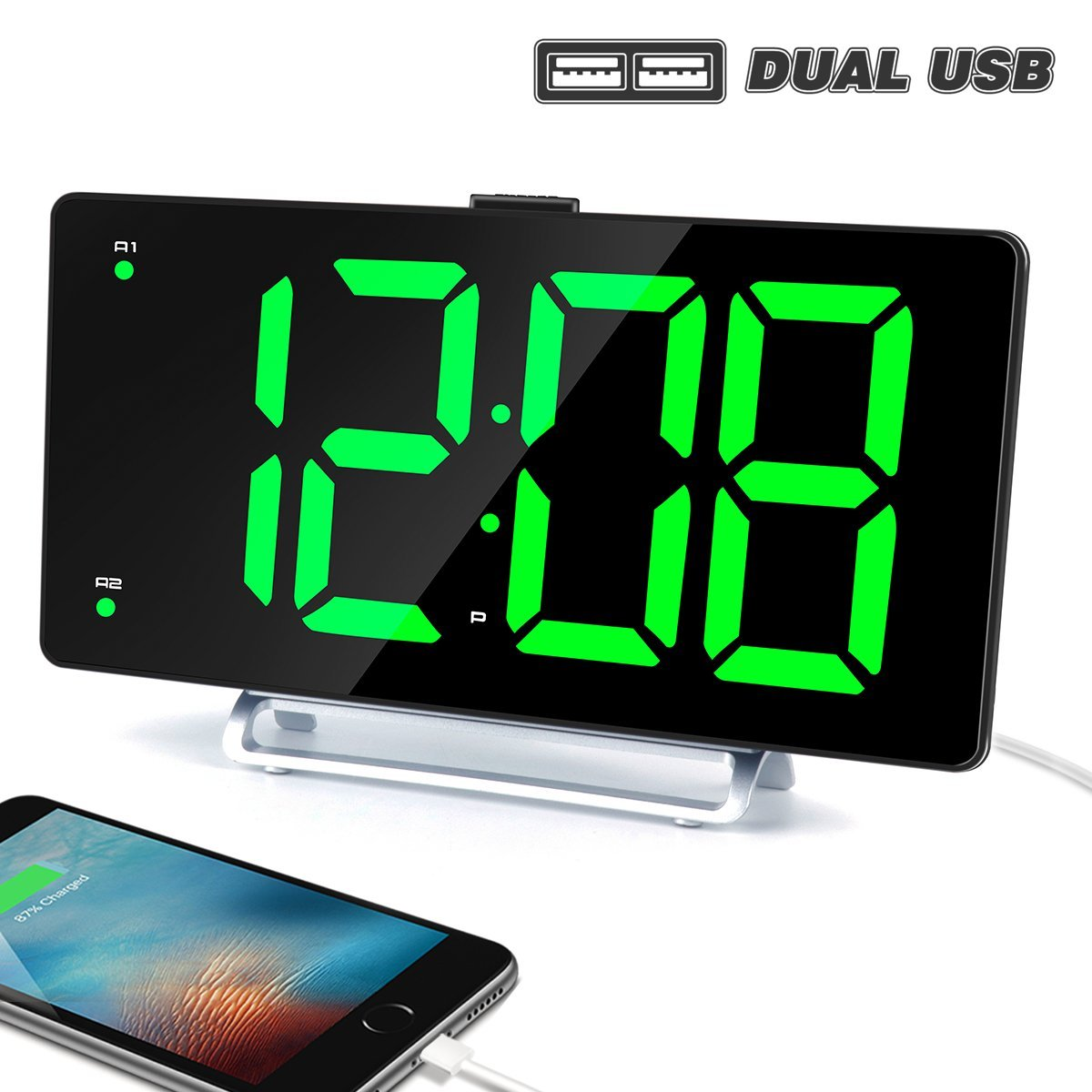 Large Alarm Clock 9''LED Digital Display Dual Alarm with USB Charger Port 0-100 Dimmer for Seniors Simple Bedside Big Number Green Alarm Clocks for Bedrooms by K-star