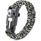 Brave Tour Outdoor Survival Gear Escape Paracord Bracelet Flint/Scraper/Whistle/Thermometer