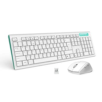 da37e8c9270 Jelly Comb MK09 Full Size Wireless Keyboard and Mouse Combo Set with  Whisper-quiet and