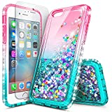 iPhone 5S Case, iPhone SE/5 Case, NageBee Glitter Liquid Quicksand Waterfall Floating Sparkle Bling Diamond Women Girls Kids Cute Durable Case w/[Screen Protector Clear] for iPhone 5/5S/SE -Pink/Aqua Reviews