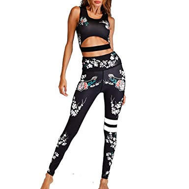 Womens Yoga Leggings Fitness GymSports Print Running Jogging Pants Gym Trousers