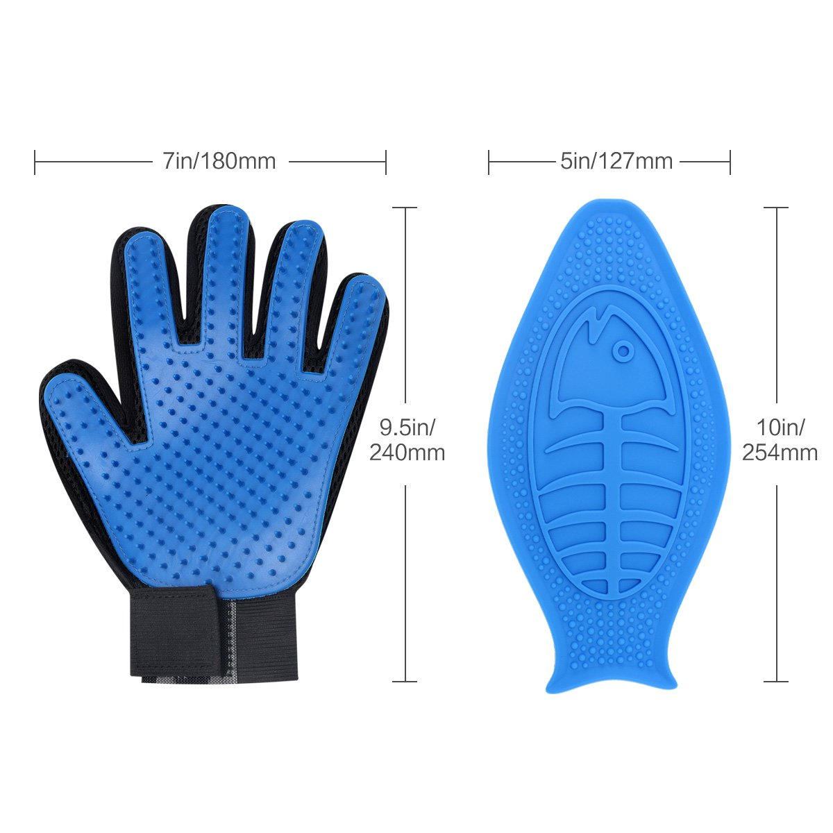 Dog Grooming Glove, Pet Deshedding Brush Glove,Dog Fur Brush Bathing Massage Mitt(1 Pair)+Lick Lick Pad Dog Bath Distraction Device Combination For Funny and Easy Shower.