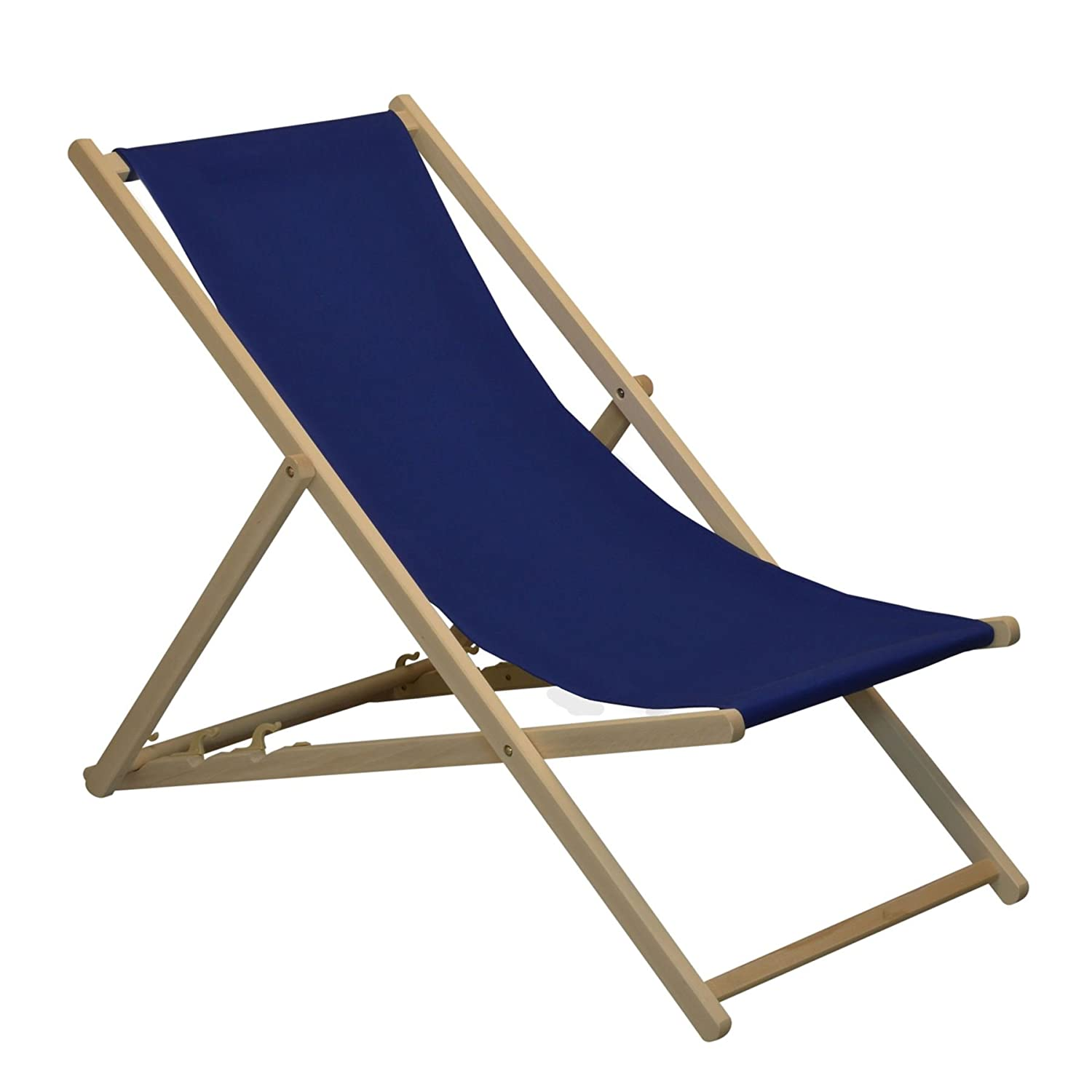 Traditional Adjustable Garden / Beach-style Deck Chair - Navy-Blue Harbour Housewares