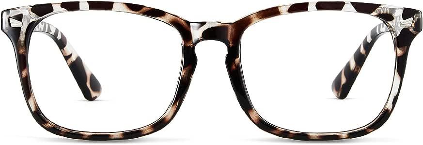 Cyxus Blue Light Blocking Glasses Women UV Filter Clear Lens Computer Gaming Glasses Anti Eyestrain Eyewear Square Eyeglasses Frame (8082T03, Leopard Print)